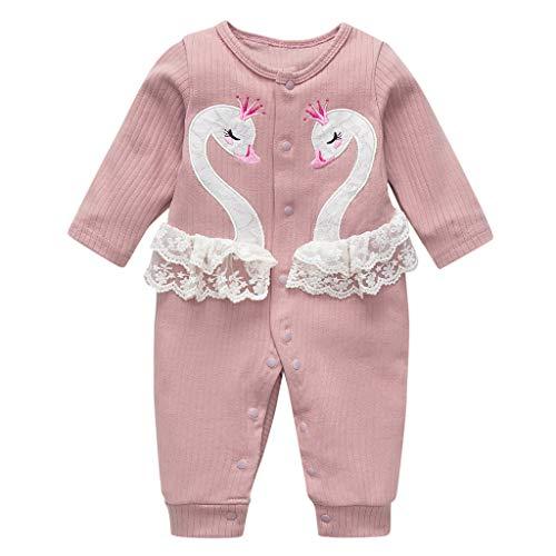 Livoral Mädchen Cartoon Schwan Overall Neugeborenes Baby Kleiner Junge Overall Kleidung eingestellt(Rosa,0-6 Monate)