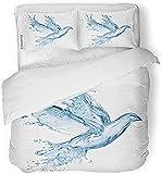 HSBZLH Funda Edredón De Perro Ropa De Cama Juego De Funda Nórdica Blue Splash Dove Hecho De Agua Splashes White Bird Liquid Drop Peace 3 Piezas