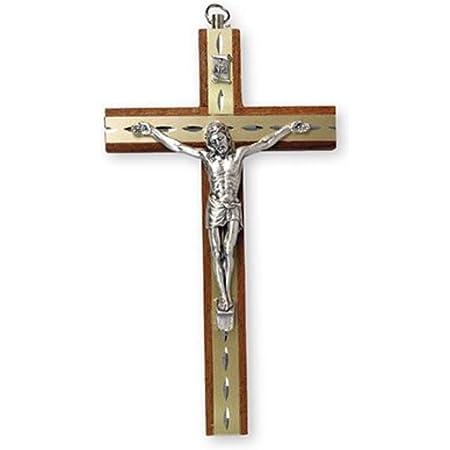 Crocifisso da appendere in legno di mogano, con figura Gesù in argento e intarsio a taglio di diamante, 15 cm, 10581