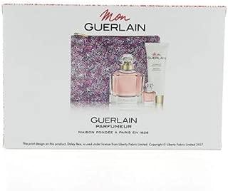 Mon Guerlain Four-Piece Set Eau De Parfum Spray 3.3 oz & 0.16 oz & Body Lotion 2.5 oz & Pouch