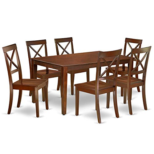 East West Furniture CABO7-MAH-W Mid Century Set 7 Piece-Wooden Chairs Seat-Mahogany Finish Kitchen dining room Table and Frame, 7