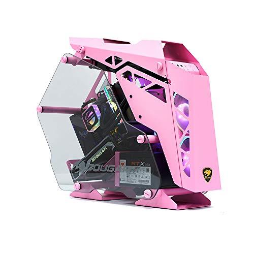 Caja de PC Gaming Cougar Mini Conquer, Aluminio + Cristal Templado Rosa