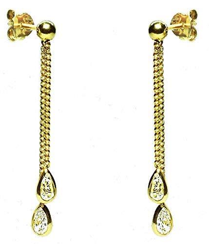 Pendientes largos oro mujer 18k largos de cadenas con distinta longitud y en la piedras en la punta.Medida de la joya 3.5 x 34 mm. Cierre a presión.