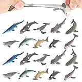 20 paquetes Figura de juguete de tiburón, super elasticidad.Favoritos para fiesta de las figuras del mundo zoológico de juguete de baño flotante y blando: Figuras de tiburón, ballena y delfín