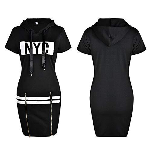 NAQUSHA Vestido con capucha para mujer, vestido maxi de manga corta con estampado de cremallera y ajuste entallado