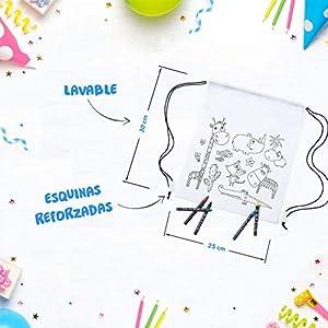 41jeuAx yHL. SS300  - Mega Pack de 30 Mochilas para Pintar con Ceras - Diversión Asegurada - Original Regalo para Cumpleaños, Fiestas Infantiles en el Colegio y Comuniones - Incluye Regalos Extra para Divertido Concurso