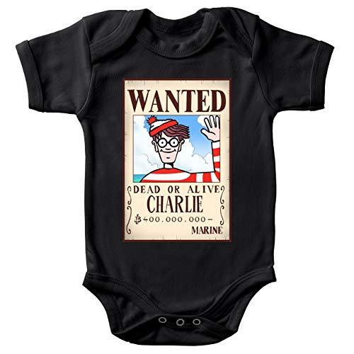 Body bébé Manches Courtes Noir Parodie Où est Charlie - Charlie à la Sauce One Piece Wanted - Mystérieux Wanted(Body bébé de qualité supérieure de Taille 9 Mois - imprimé en France)