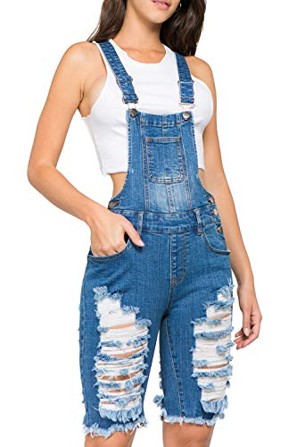 TwiinSisters Women's Front and Back Destroyed Slim Curvy Denim Pants Short Bermuda Overalls Size S - 3X