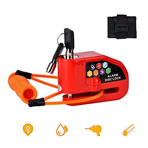Bremsscheibenschloss,Motorradschloss, Alarmschloss,110dB Laute Sirene Alarm für Motorrad und Fahrrad mit Erschütterungsalarm (Rot)