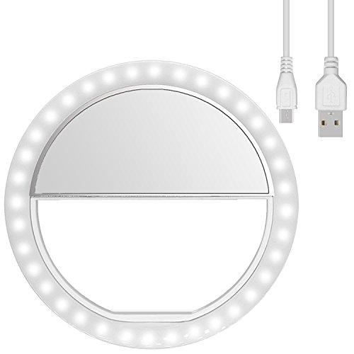 Diyife Selfie Ring Light, [Ultima Versione] Ricaricabile Luce Dell'Anello Selfie 3 Livelli di Luminosità 36 LED con Clip di Regolazione su Telefono Cellulare per Youtube, Facebook, Live Stream,ECC