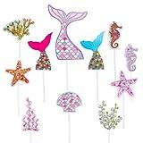 Sirena Cupcake Toppers Lindo Océano Animales en Forma de Pastel Toppers Glitter Torta de Sirena Deco...