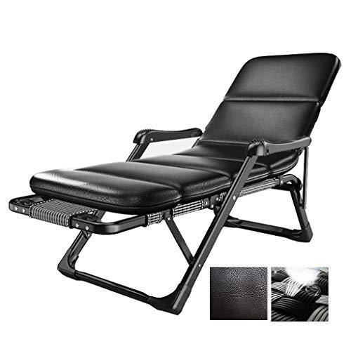 Tumbona Plegable reclinable Cama Simple for el Descanso Balcón Playa Oficina de Interior al Aire Libre Silla de salón Perezoso sofá (Color : Gray, Size : Black PU Mattress)