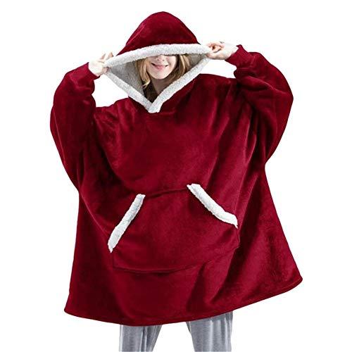 LIMILI Lazy Flannel Wearable Soft Warm Hooded Blankets Sofá TV Manta de Terciopelo de algodón con Bolsillo Sudadera de Gran tamaño para Viajes de Adultos-Rojo_Talla única