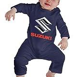 Body Unisex de Manga Larga con Cuello Redondo para bebé Suzuki Motor Logo Divertido Traje de Arrastre Negro