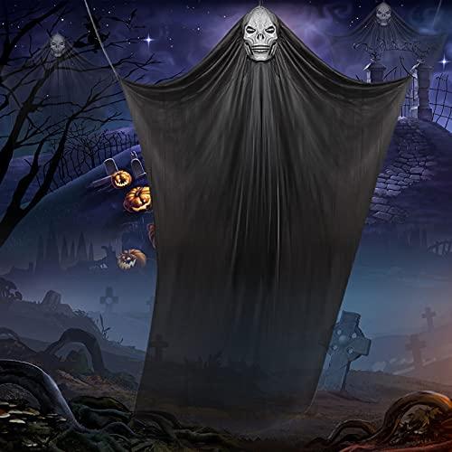 McNory 3,3m Puntello di Halloween Ghost Appeso Scheletro Volante Ghost Fantasma Spaventoso Prop Halloween Decorazioni da Appendere Volare Fantasma Appeso Grim Reaper Skull per Cortile, Bar, Albero