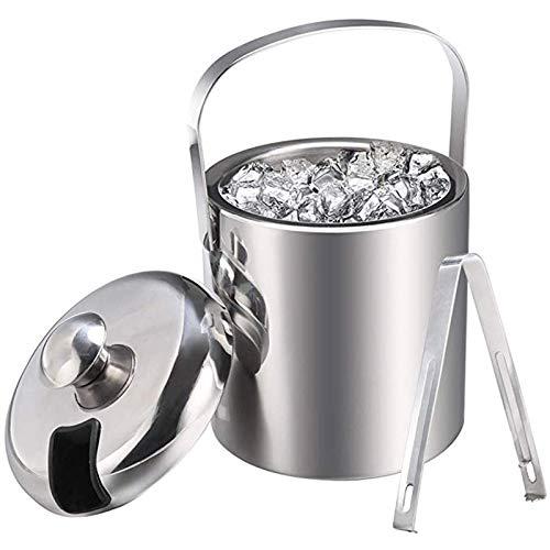 Cubo de hielo con tapa, enfriador de vino de hielo plateado para patios de bar, cubos de hielo Fo cubos de hielo con pinzas de hielo de acero inoxidable, cubo de hielo de doble pared (color: plata)