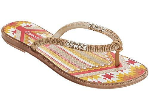 Grendha Tribale Thong - Chanclas de dedo para mujer, color blanco/beige, talla 35/36