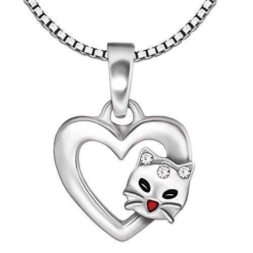 CLEVER SCHMUCK-SET ciondolo a forma di cuore 9X 9mm con gatto faccia colorata e zirconi e catena Venezia 42cm in argento 925per bambini con custodia