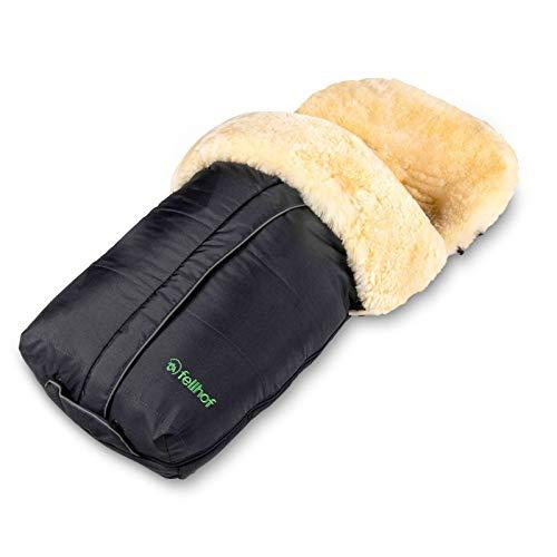 Fellhof 108303 Lammfell Fußsack Cortina, OEKO-TEX® Standard 100 zertifiziert, 45x97 cm, wind- und wasserdicht, waschbar bis 30°C, Öffnung am Fußende (schwarz)