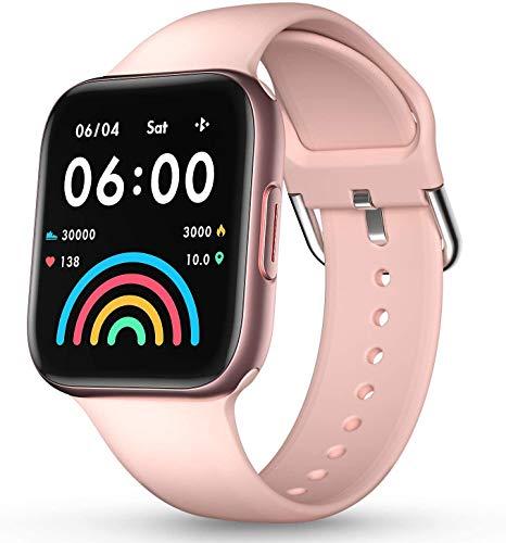 DOOK Smartwatch Reloj Inteligente Mujer Y Hombre, 1.54'' Impermeable IP67 Pulsera Actividad con Monitor De Sueño, Pulsómetro, Pantalla Táctil Completa Reloj Fitness para Android Y iOS Pink