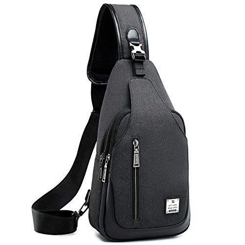 Sling Bag Chest Shoulder Backpack Crossbody Bags for Men Women Travel Outdoors (Large black)