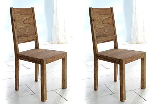 Stuhl Yoga 2er Set Esszimmerstühle Holzstuhl Sheesham massiv von Wolf Möbel