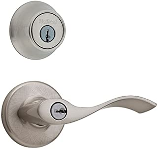 Kwikset 690 Balboa Entry Lever and Single Cylinder Deadbolt Combo Pack, Satin Nickel