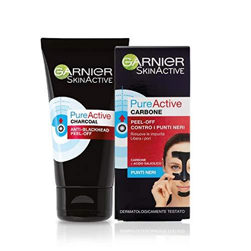 Garnier Maschera Peel-Off Pure Active Charcoal, Gel Detergente Arricchito con Carbone e Acido Salicidico, per la zona T, Anti Imperfezioni e Punti Neri, 50 ml