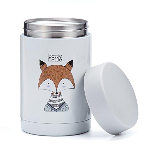 BOTTLE BOTTLE Fiambrera térmica para Bebe Niños y Adultos, Termo para Bebida Sopa (500ml, Zorro)