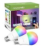 Ampoule LED Wifi Intelligente RGB+Blanc Chaud 2700K, Lampe E27 9W Equivalent de 75W 900LM, Compatible avec Alexa, Echo, Google Home et IFTTT, Novostella à Intensité Variable et Multicolore, 2PCS
