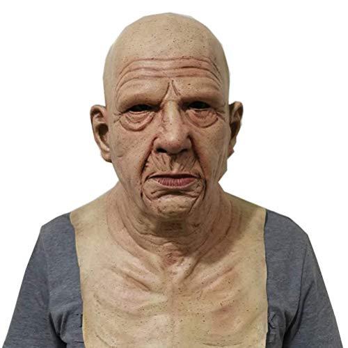 Halloween Maske, Scary Old Man Mask, Latex Cosplay Maske Kostüm, Horror Gesichtsbedeckung für Erwachsene Halloween Party Dekoration Requisiten, bequem und atmungsaktiv