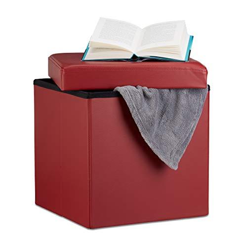 Relaxdays 10019043_708 Sgabello, Coperchio, Pouf Contenitore, Poggiapiedi, in Ecopelle, H x L x P: 38 x 38 x 38 cm ca. Rosso Scuro, Tessuto