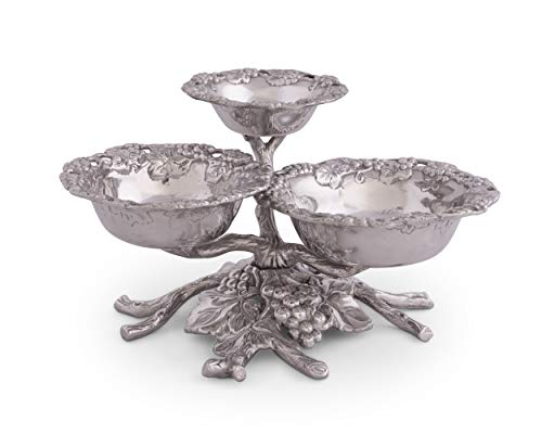 Arthur Court Designs Aluminum Grape Tiered 3-Bowls