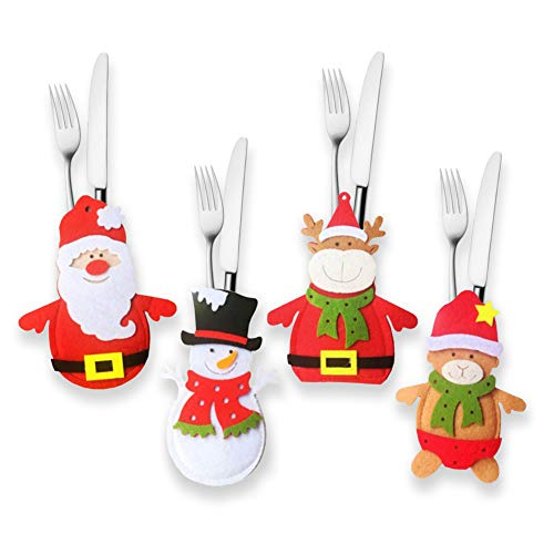 Jinxy 4Pack Christmas Knife Fork Cover Spoon Cover Cutlery Bags Xmas Snowman Reindeer Santa Silverware Tableware Holder New Year Party Dinner Table Decoration
