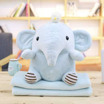 yfkjh Elephant Hippo Plush Toys, Pillow Blankets with Multi-Functional Pillow Cushions, nap blanketfold Air-Conditioned Blankets Doll 40cm Blanket 1 x 1.7m Elephant