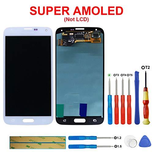 swark Écran Super AMOLED compatible avec Samsung Galaxy S5 SM-G900F G900F Blanc + outils d'ouverture Numéro de modèle : GH97-15959B