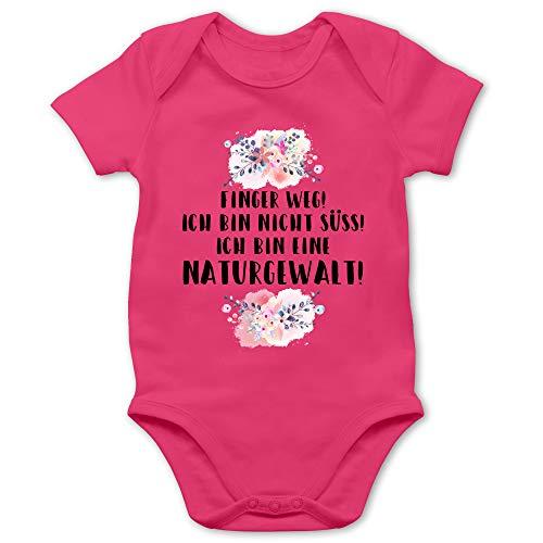 Shirtracer Strampler Motive - Finger Weg! Ich Bin Nicht süß! Ich Bin eine Naturgewalt! - 1/3 Monate - Fuchsia - Strampler nichte - BZ10 - Baby Body Kurzarm für Jungen und Mädchen