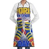 N / A Kitchen Apron,Día Mundial del Síndrome De Down Calcetines Manos Moda Babero Fresco Delantales para Regalos del Día del Padre,72 * 52cm