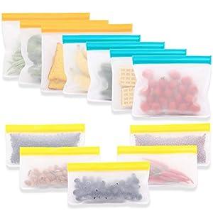12 Piezas GouBao Bolsas de Sándwich Reutilizables, Bolsas de Almuerzo Ziplock, Bolsas de Conservación Congelar, Bolsa de Almacenamiento Sellada a Prueba de Fugas para Frutas, Verduras y Carne, Sin BPA