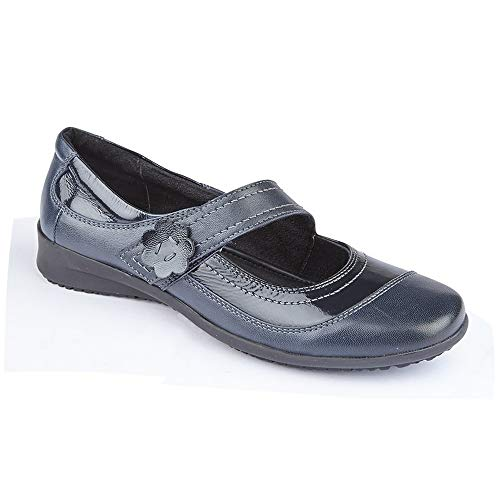 Mod Comfys - Zapatos Casuales de Cierre Adhesivo para Mujer señora (39 EU) (Azul Marino)