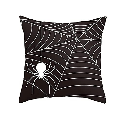 Cushion Covers White Spider Square Soft Velvet Double Sided Decor Throw Pillow Case with Invisible Zipper for Home Couch Livingroom Sofa Car Bed Decorative Cushion Cover Case M12937 60x60cm