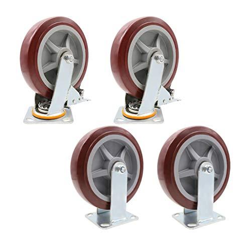 Heavy Duty Silent-Polyurethan-Rad, 4er Pack, Industriewagen, Scaffold Roller, Heavy Load (Farbe : 5#, Größe : 8 inch)