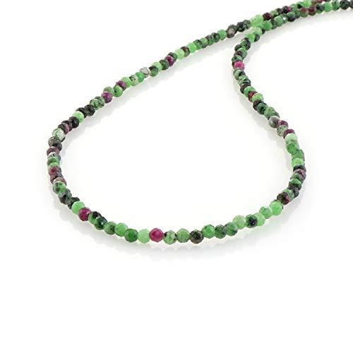 Rubin-Zoisit-Halskette mit Halbedelsteinen, Valentinstagsgeschenk für sie, Jahrestagsgeschenk, Zoisit, facettierte Perlen.