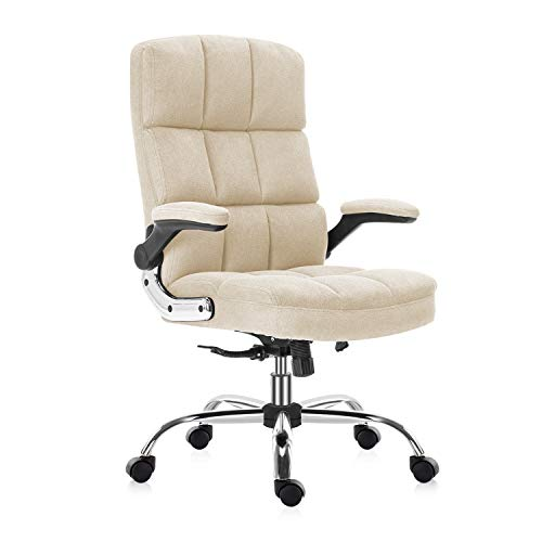 YAMASORO Velvet Office Chair Comfortable Fabric Desk Chair with Wheels High-Back Ergonomic Executive Computer Chairs with Flip-Up Arms,Adjustable Tilt Angle,Beige
