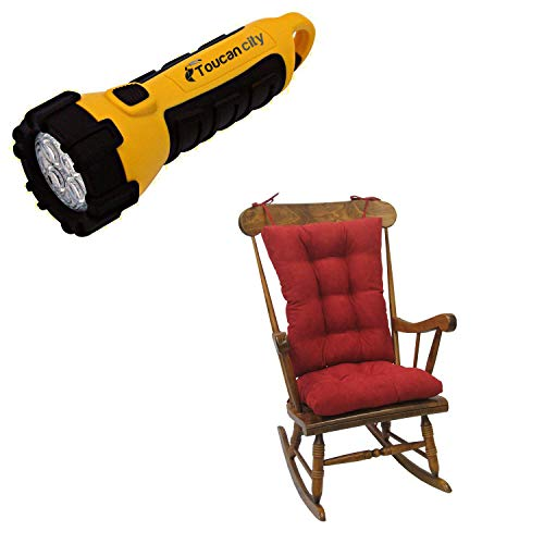 Toucan City LED Flashlight and Klear Vu Gripper Twillo Red Jumbo Rocking Chair Cushion Set 849140XL-07