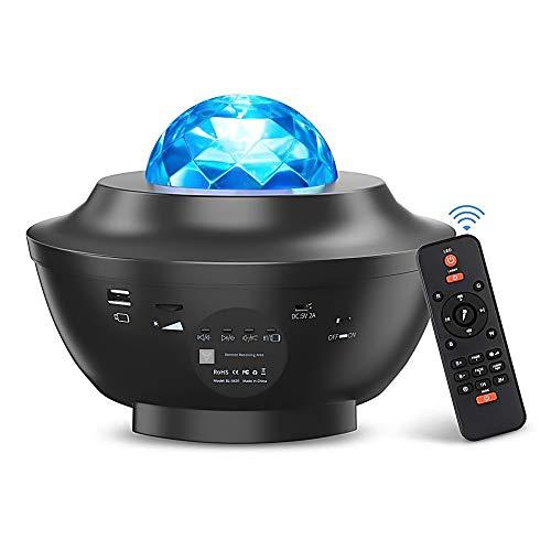 LED Sternenhimmel Projektor, Ferngesteuerte LED Musik Nebulicht Sternenhimmel Lampe mit Bluetooth Lautsprecher Sound Sensor & Timer für Kinder Erwachsene Zimmer Dekoration Geschenk [Energieklasse A+]