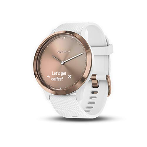 Garmin vivomove HR, Hybrid Smartwatch for Men and Women, White/Rose Gold