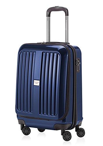 Trolley bagaglio a mano capitale doppie ruote Xberg blu scuro con lucentezza TSA 42litri + valigetta ciondolo in nero