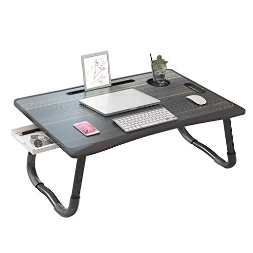 NJYT Laptop Schreibtisch für Bett, Tragbarer Stehpult mit Schublade Klappbarer Schlafsaal Tisch Notebook Ständer Lesehalter(Color:schwarz)