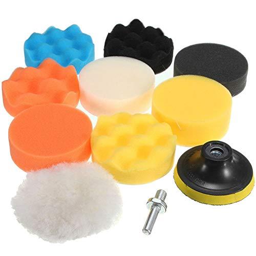 CANOPUS Polishing Pads for Drill, 11 PCS 80mm, Heavy Duty Sponge Pads, Wool Polishing Waxing pads, Buffing Pads, Polishing sponge set with 2 Pcs M10 Drill adapter, Car polishing set